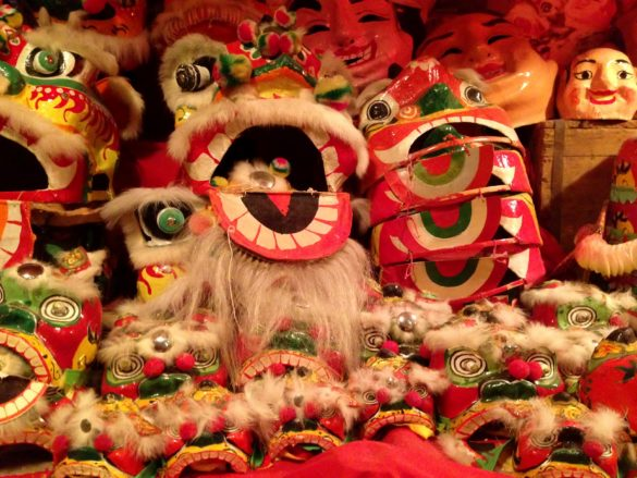 Colouful dragon masks at the Hong Kong History Museum