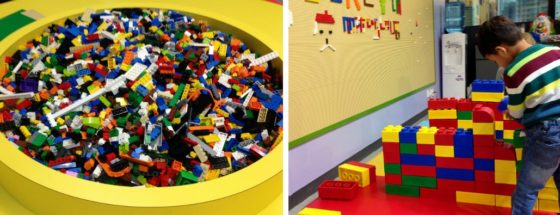 Lego building at play area in AA Place, Causeway Bay, Hong Kong