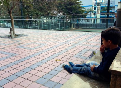 Eating snack on the outdoor terrace at Hong Kong Central Library