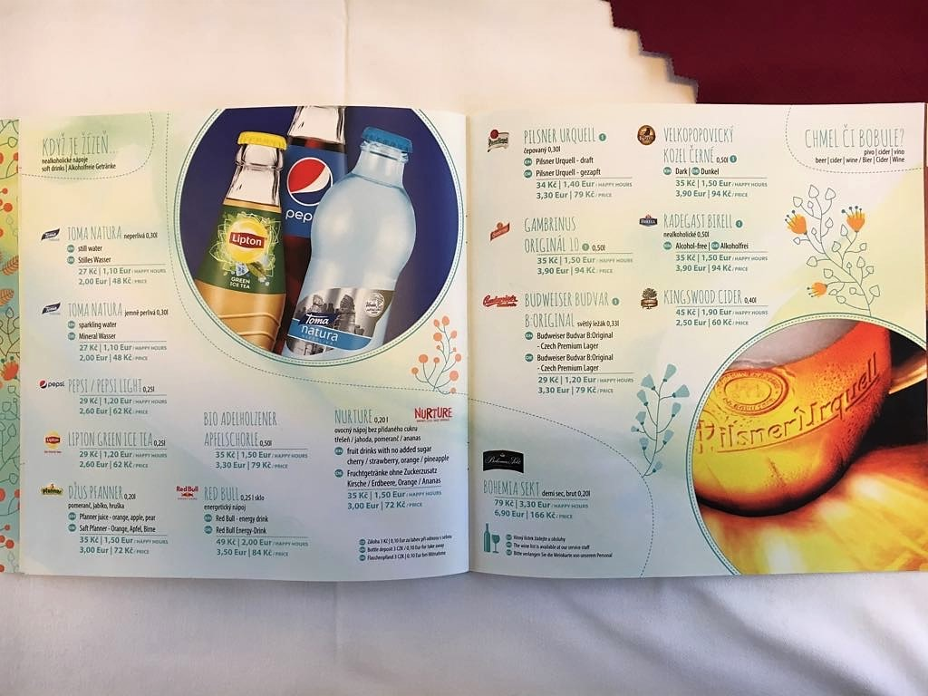 Drinks Menu from Berlin to Prague Train