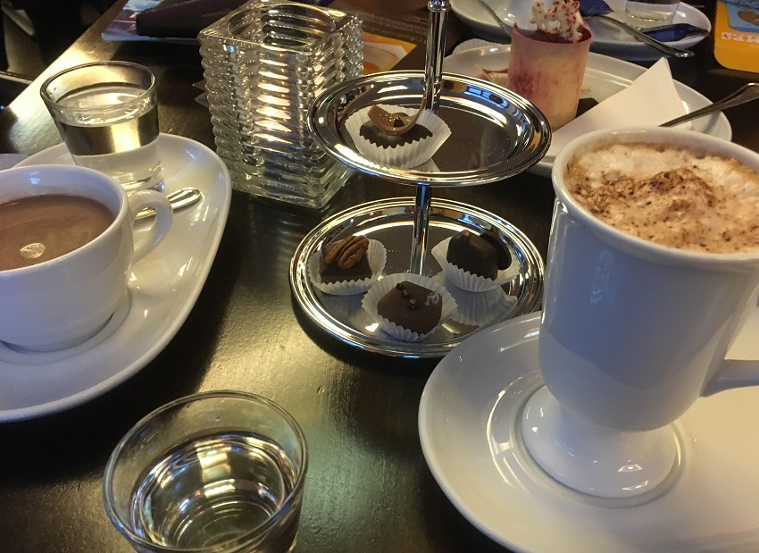Little and large hot chocolates at Fassbender and Rausch