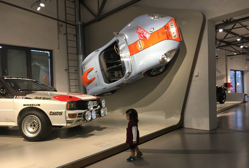 Little girl meets fast car at German Museum of Technology