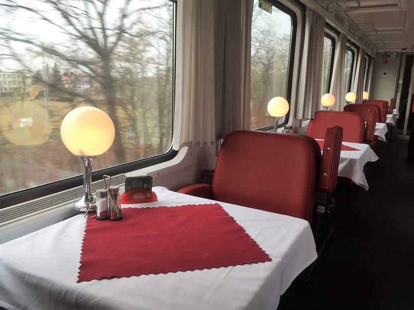 Restaurant car on Prague to Berlin Train