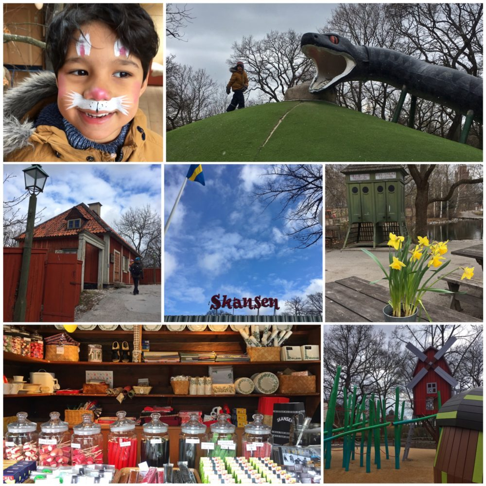Enjoying face-painting, slides, playgrounds and traditional sweets at Skansen Stockholm