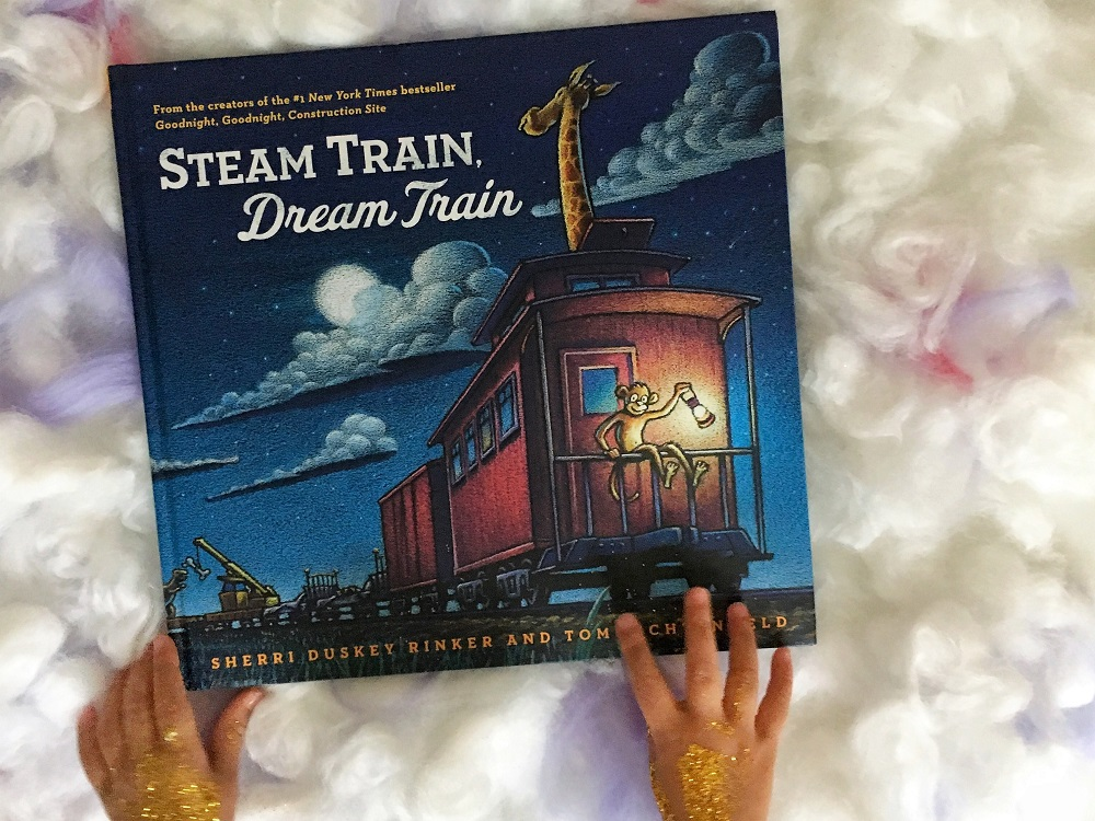 Front cover of the magical Steam Train, Dream Train by Sherri Duskey Rinker and Tom Lichtenheld