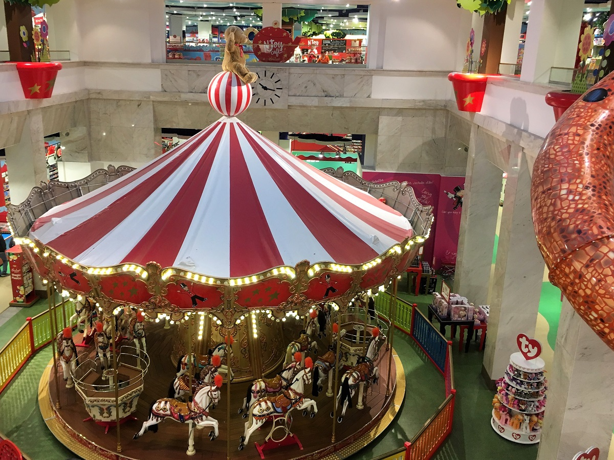 Hamleys Carousel Prague. 11 indoor activities for kids in Prague, written by a local expat family